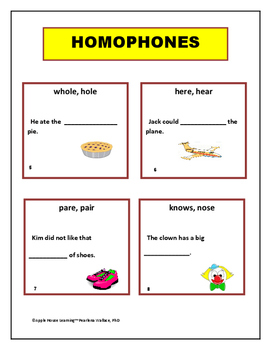 Homophones:  Task Cards Activities with Sentences and Pictures