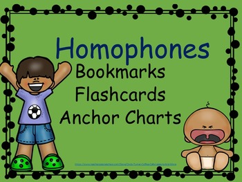 Homophones Anchor Charts/Bookmarks/Flashcards