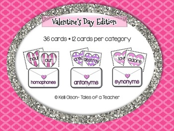 Homophones, Antonyms, and Synonyms Sort- Valentines Edition