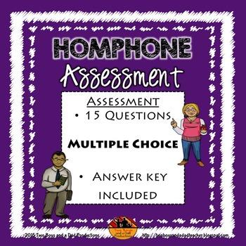 Homophones Vocabulary Assessment