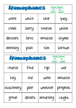 Homophones BINGO- difficult