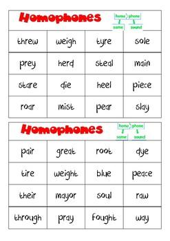 Homophones BINGO- medium