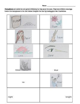 Homophones Chart and Sentence Practice