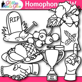 Homophone Clip Art {Berry & Bury, Tee & Tea, Plain & Plane, Meet & Meat} B&W