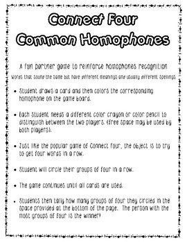 Homophones - Connect Four in a Row Game