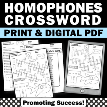 Homophones Worksheets, Crossword Puzzle Activity, Speech Therapy Homework
