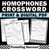 Homophones Worksheet, Vocabulary Crossword Puzzle, Speech and Language
