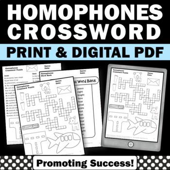 Homophones Worksheet, Vocabulary Crossword Puzzle, Speech and Language
