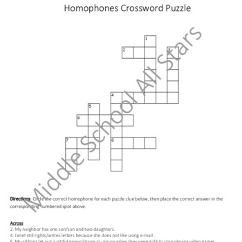 Homophones Crossword Puzzle I - Grades 4-6