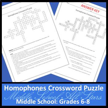 Homophones Crossword Puzzle II - Grades 6-8