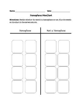 Homophones: Cut, Sort, & Paste Activity