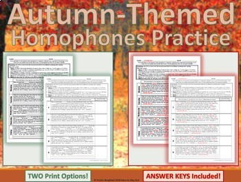 Where, Wear, We're, Were: 1-Page Autumn-Themed Practice