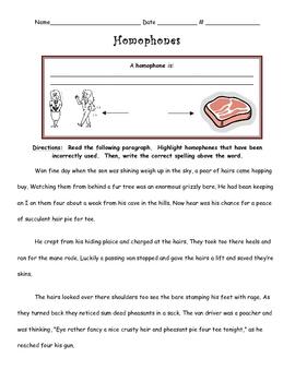 Homophones Differentiated Instruction Activity