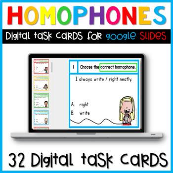 Homophones Digital Task Cards for Google Slides Paperless Activities