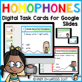 Homophones Digital Task Cards for Google Slides Paperless Activities