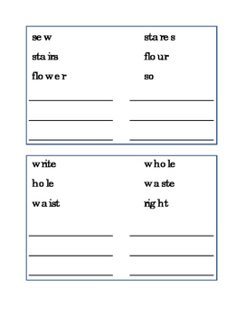 Homophones Draw Line Match Homophone-Word Reading Journal Supplement Spelling 4p