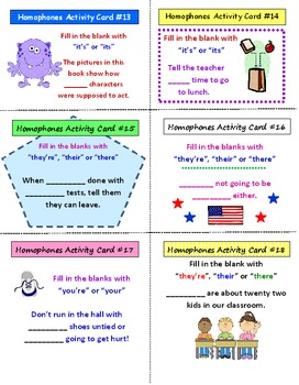 Homophones FREE Activity Cards & Lesson Plan PREVIEW