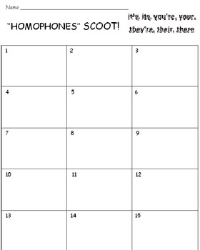 Homophones FREE SCOOT Game PREVIEW