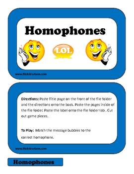Homophones File Folder Game