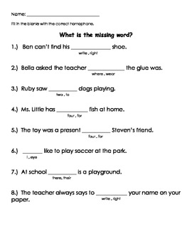 Homophones - Fill in the blanks