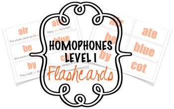 Homophones Flashcards Level I (26 words)