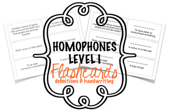 Homophones Flashcards Level Ib - Definitions & Writing Sheet
