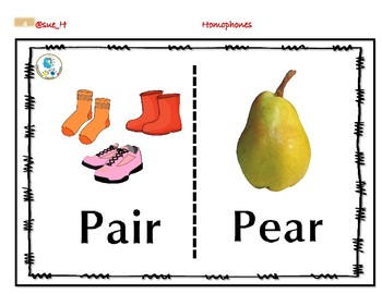 Homophones Flash cards