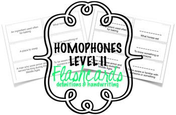 Homophones - Flashcards - Level IIb