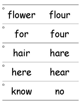 Homophones Flashcards Task Cards, Speech Therapy