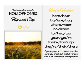 Homophones Flip and Clip- Basic