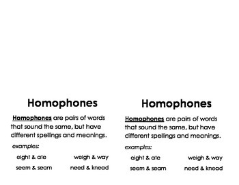 Homophones: Homophones Foldable
