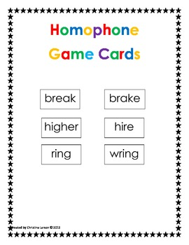 Homophones Game Cards