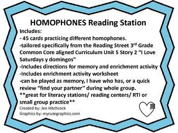 Homophones Game: Common Core Aligned and Enriching