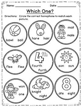 Homophones Game & Homophones Worksheets - 40 Task Cards!