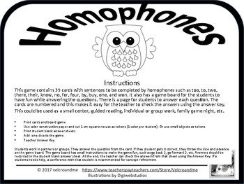 Homophones Game too/to/two/there/their/know/no/for/four/by/buy/one/won