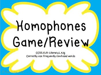 Homophones Game/Review/Practice CCSS ELA-Literacy.L.4.1g
