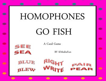 Homophones Go Fish Card Game by KMediaFun