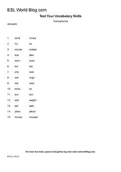 Homophones Grammar Printable Activity ESL