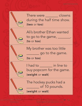 Homophones--Hockey Tricks Literacy Center (eLesson)