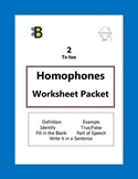 Homophones Activity Packet