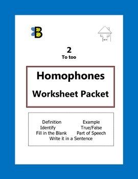 Homophones Activity Packet