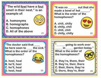 L.4.1g Common Core - Homophones Homographs Homonyms Posters Task Cards