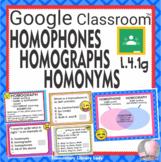 Homophones Homographs Homonyms Task Cards GOOGLE SLIDES- 25 Cards L.4.1g