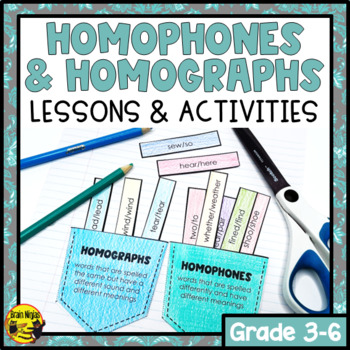 Homophones & Homographs- Interactive Notebook Lesson, Task Cards & Activities
