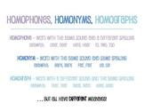Homophones, Homonyms, Homographs!