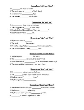 Homophones / Homonyms Packet