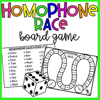 "Homophones- ""Homophone Race!"" Game with 30 Homophone Pairs"