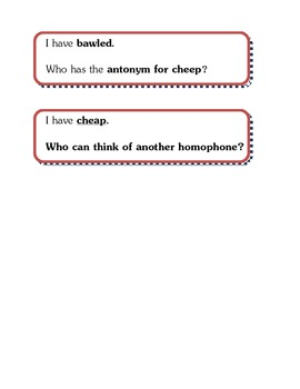 Homophones - I Have, Who Has?