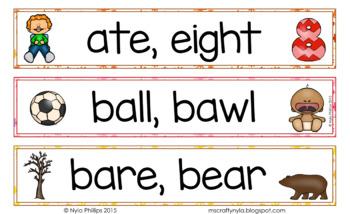 Homophones - Illustrated Word Wall
