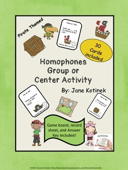 Homophones Individual Center Activity or Group Game Activity #1